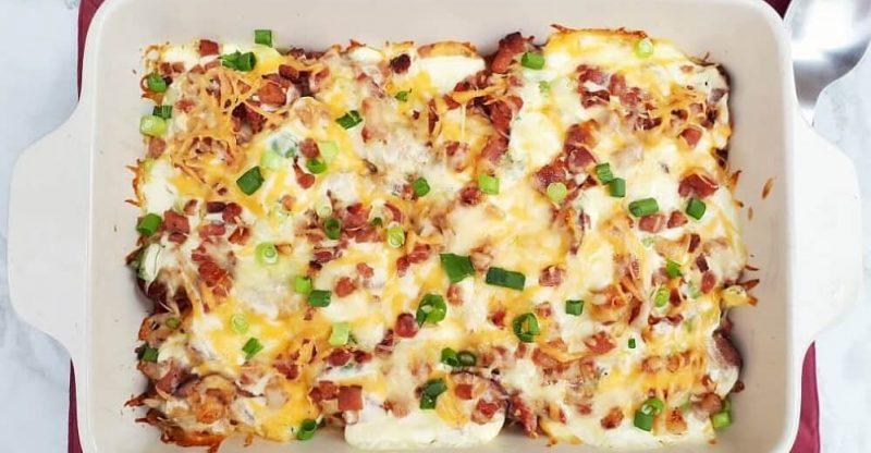 Creamy Potato Bacon Casserole side dish recipe
